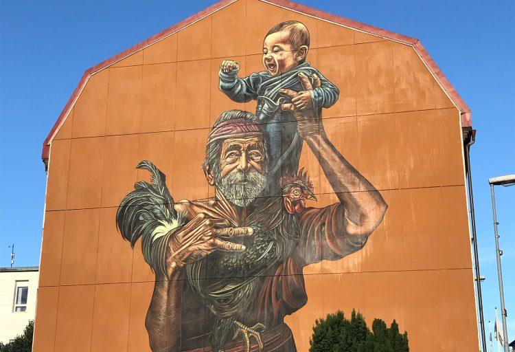 Bilden föreställer en väggmålning i Lysekil.