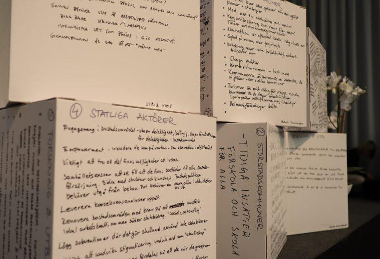 Bilden visar kuber med anteckningar från mötet.