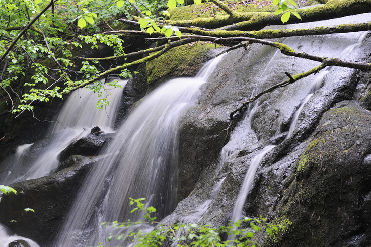 Vatten i en bäck som rinner nerför en berghäll
